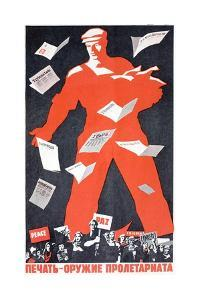 Giant Soviet Workder Distributing Communist Newspapers