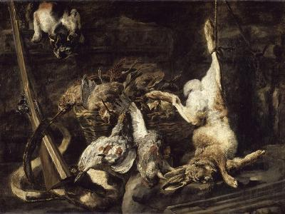 Gibier et attirail de chasse découverts par un chat-Jan Fyt-Giclee Print