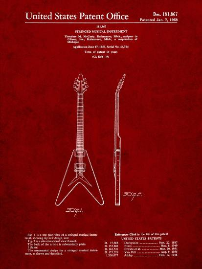 Gibson Flying V Guitar Art Print by Cole Borders | Art com
