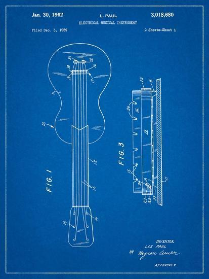 Gibson Les Paul Guitar Patent-Cole Borders-Art Print