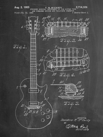 Gibson Les Paul Guitar Patent-Cole Borders-Premium Giclee Print