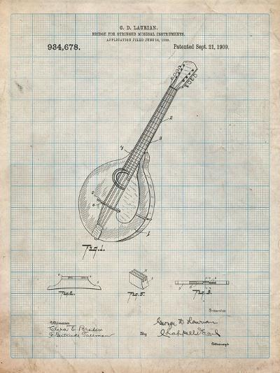 Gibson Mandolin Bridge Patent-Cole Borders-Art Print