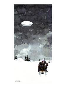 Man fishes through hole in ice on a lake; in the dark wintery sky above hi? - New Yorker Cartoon by Gideon Amichay