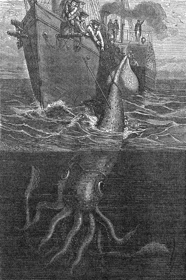 Gigantic Squid And Ship, 19th Century-Middle Temple Library-Photographic Print