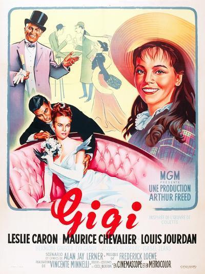 Gigi, Maurice Chevalier, Louis Jourdan, Leslie Caron on French poster art, 1958--Art Print