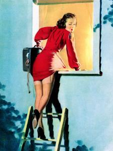 A Lad Her Problem Pin-Up 1940 by Gil Elvgren