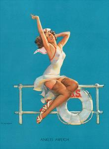 Ankles Aweigh - Sexy Sailor Glamour Pin-Up Girl by Gil Elvgren