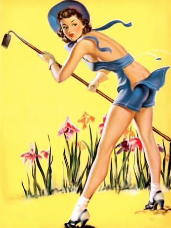 What Hoe! Gardening Pin-Up 1940