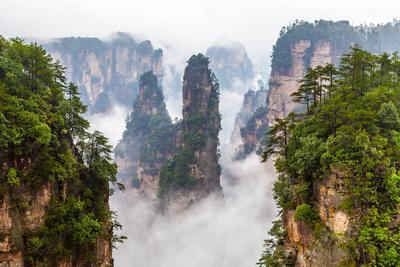 Zhangjiajie National Park in China Hunan Province Covered with Clouds