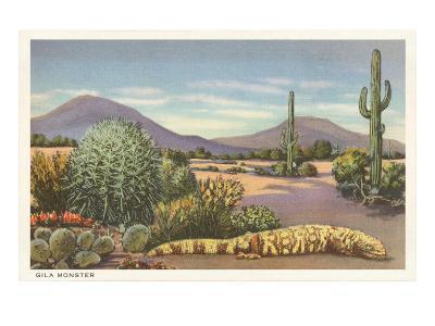 Gila Monster and Cacti--Art Print