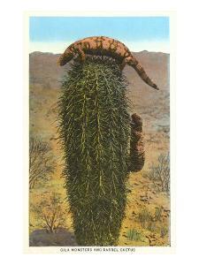 Gila Monsters on Barrel Cactus