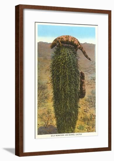 Gila Monsters on Barrel Cactus--Framed Art Print