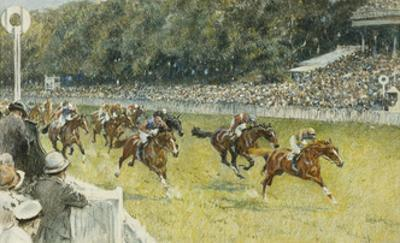 A Finish at Goodwood by Gilbert Holiday