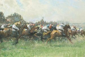 Tattenham Corner, the Epsom Derby, (Coloured Chalks and Bodycolour on Paper) by Gilbert Holiday