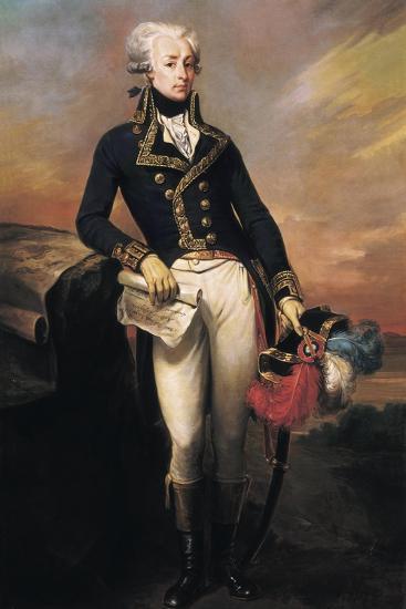 Gilbert Motier, the Marquis De La Fayette as a Lieut-Joseph Desire Court-Art Print