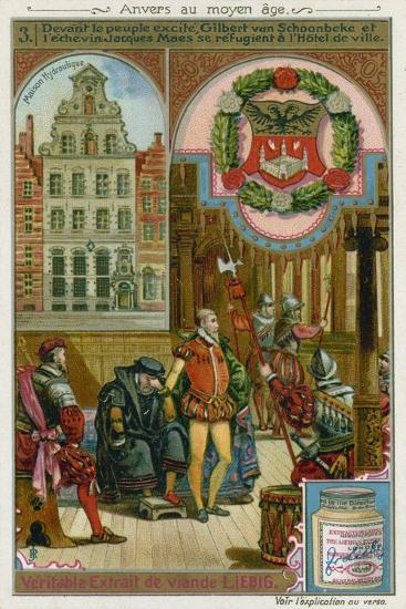 Gilbert Van Schoonbeke and Pensionary Jacob Maes Take Refuge from the Populace in the City Hall--Giclee Print