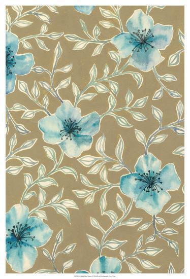 Gilded Blue Flowers I-Grace Popp-Art Print