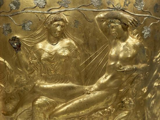 Gilded Bronze Cinerary Krater, from Derveni, Greece, Detail BC, Ancient Greece--Giclee Print
