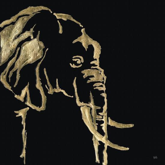 Gilded Elephant on Black-Chris Paschke-Art Print
