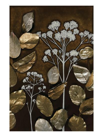 Gilded Leaf Collage I-Megan Meagher-Art Print