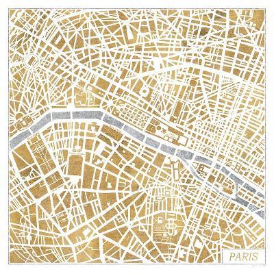 Gilded Paris Map-Laura Marshall-Art Print