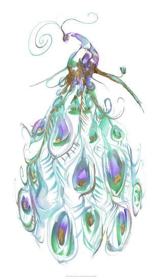 Gilded Peacock Plumes I-Jennifer Goldberger-Art Print