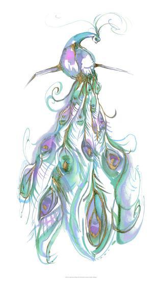 Gilded Peacock Plumes II-Jennifer Goldberger-Art Print