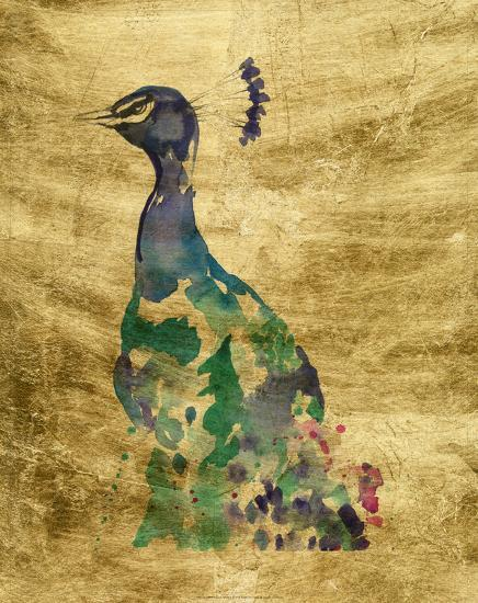 Gilded Peacock Splash II-Jennifer Goldberger-Art Print