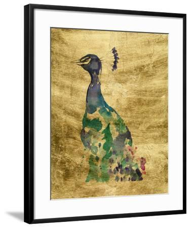 Gilded Peacock Splash II-Jennifer Goldberger-Framed Art Print