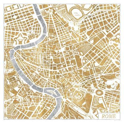 Gilded Rome Map-Laura Marshall-Art Print