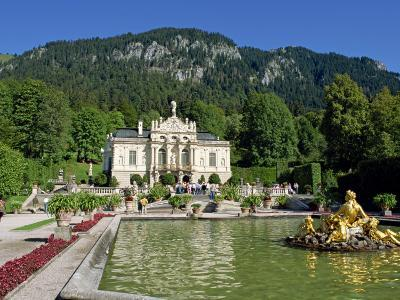 Gilded Statues and Pool in the Gardens in Front of Linderhof Castle, Bavaria, Germany, Europe-Scholey Peter-Photographic Print