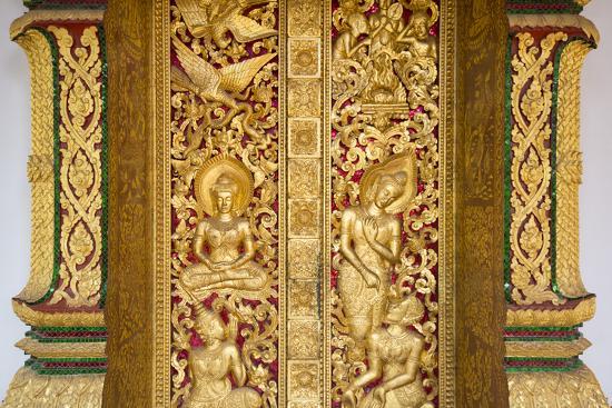 Gilded Wall Carvings at Wat Xieng Thong Monastery-Michael Melford-Photographic Print