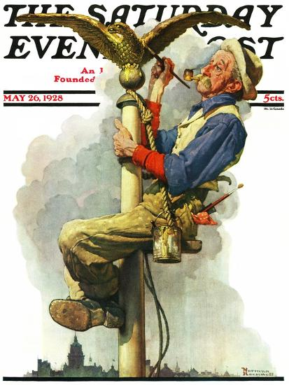 """""""Gilding the Eagle"""" or """"Painting the Flagpole"""" Saturday Evening Post Cover, May 26,1928-Norman Rockwell-Giclee Print"""