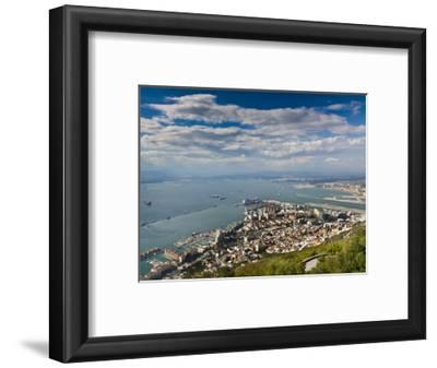 Bay of Gibraltar and Gibraltar Town from the Top of the Rock, Gibraltar, Europe