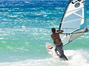 Big Jump Windsurfing in High Levante Winds in the Strait of Gibraltar, Valdevaqueros, Tarifa, Andal by Giles Bracher