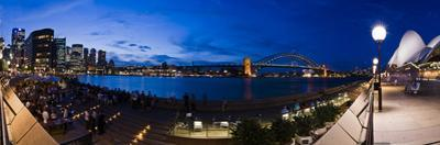 People Drinking at Opera House Bar at Sydney Opera House, Harbour Bridge and Skyline, Australia by Giles Bracher
