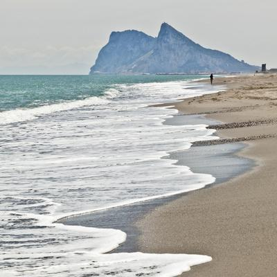 Tourist Walking Toward Gibraltar, Alcaidesa Beach, Near Sotogrande, Andalucia, Spain, Europe