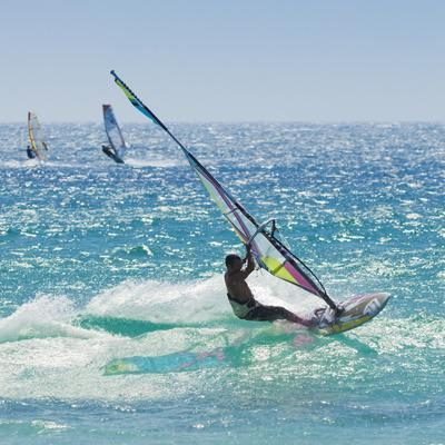Windsurfer Riding Wave, Bonlonia, Near Tarifa, Costa de La Luz, Andalucia, Spain, Europe