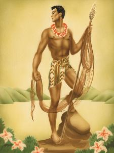 Hawaiian Fisherman with Ihe (Spear), c.1930s by Gill