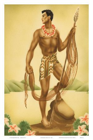 Hawaiian Fisherman with Ihe (Spear), c.1930s