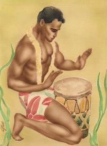 Hawaiian Hula Drummer, c.1930s by Gill