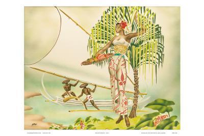 Island Beauty, Hawaiian Art Deco Airbrush 1940s