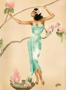 Magnolia, Hawaiian Woman with Flowers c.1930s by Gill