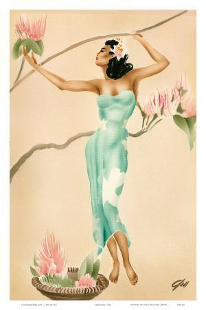 Magnolia, Hawaiian Woman with Flowers c.1930s