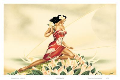 Wahine in Red, Hawaiian Woman with Outrigger Canoe, c.1930s