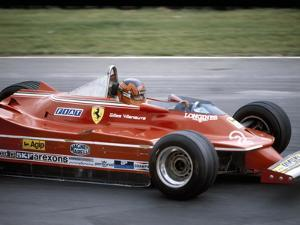 Gilles Villeneuve Racing a Ferrari 312T5, British Grand Prix, Brands Hatch, 1980