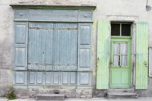 Shuttered Shop, Traditional Paint Colours, Faded, Patina. Laguepie by Gillian Darley