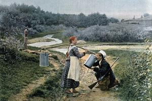 A Hunter Takes a Drink from a Young Woman, Russia, C1890 by Gillot