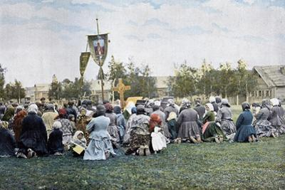A Religious Procession in a Village, Russia, C1890 by Gillot