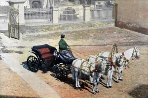 A Three-Horse-Drawn Troika in Summer, Russia, C1890 by Gillot